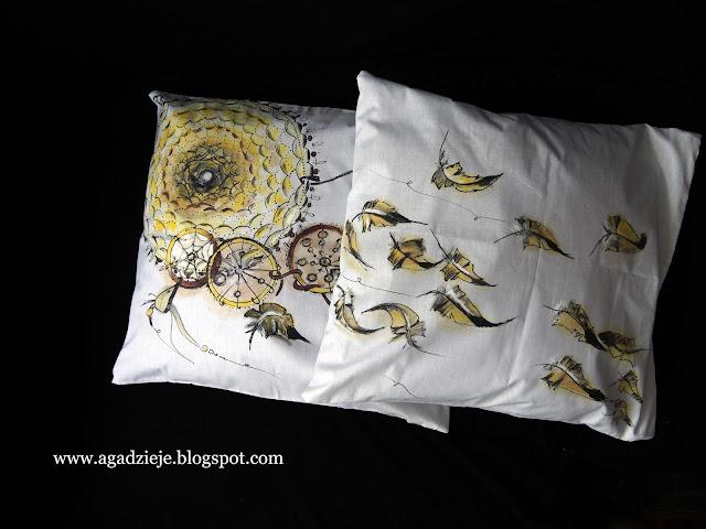 Żółty łapacz snów 2 ( malowanie na tkaninie )
