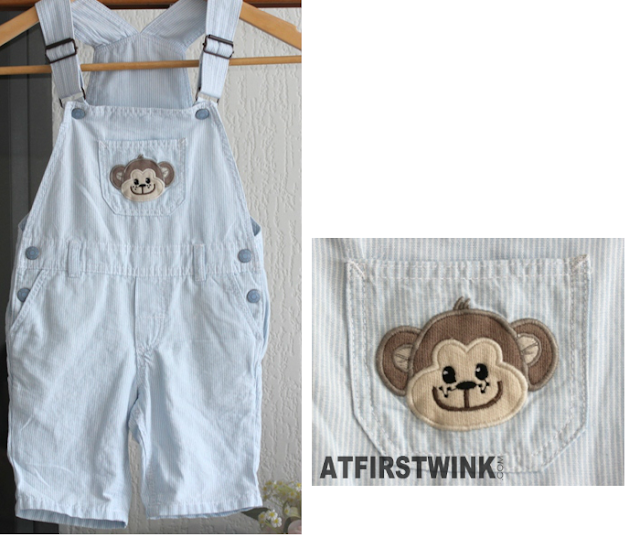 H&M white-blue striped baby dungarees with monkey face