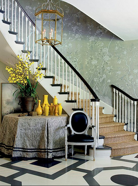 black and white painted floors and de gournay wallpaper