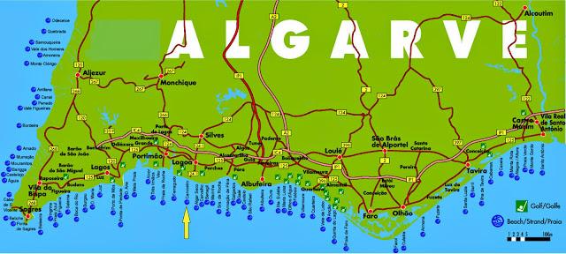 Mapa da região do Algarve – Portugal