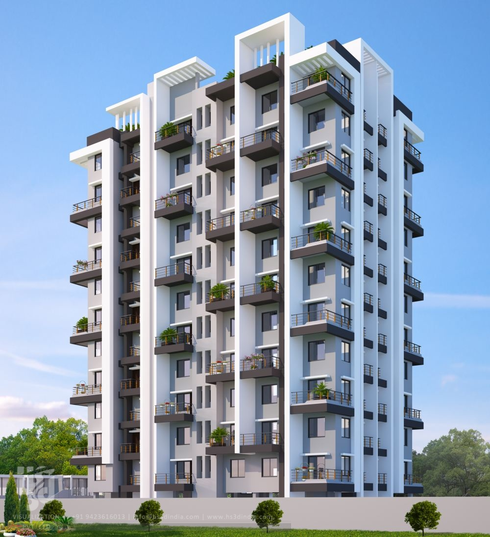 Apartment Front Elevation Design : D architectural visualization exterior design day