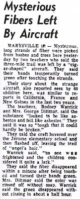 Mysterios Fibers Left By Aircraft - Times-Bulletin 11-2-1954
