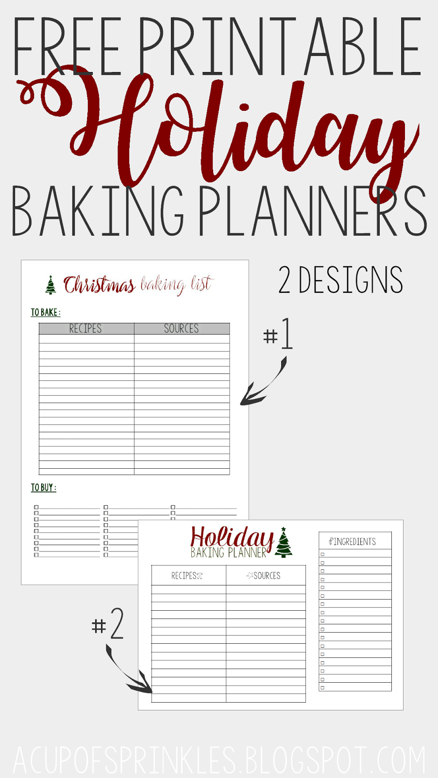 Free Printable Holiday Christmas Baking Planner