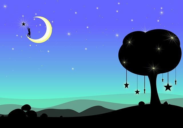 Moon Dream Fantasy Surreal Night Dark Blue