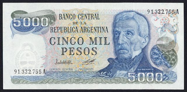 Argentina Banknotes 5000 Pesos banknote 1980 General Jose de San Martin