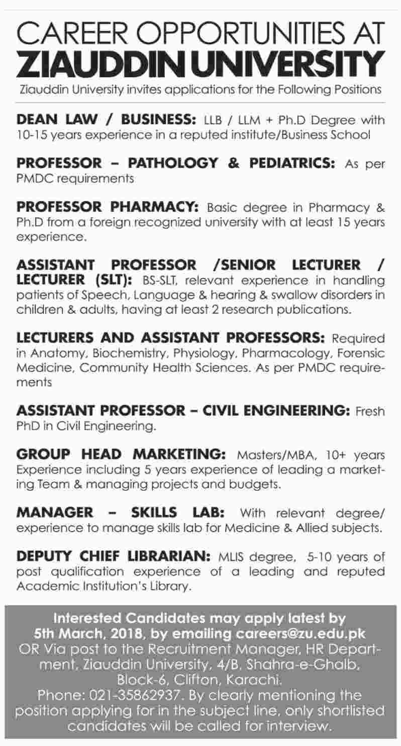 The Ziauddin University Karachi Jobs - Latest Career PK