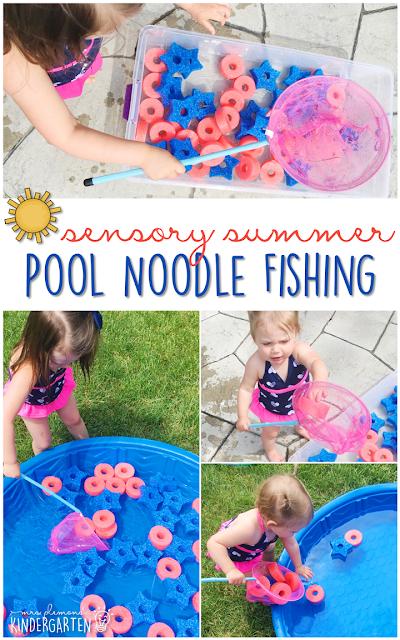 Sensory Summer Pool Noodle Fishing Fun Activity for gross motor skills, hand-eye coordination and summer fun!