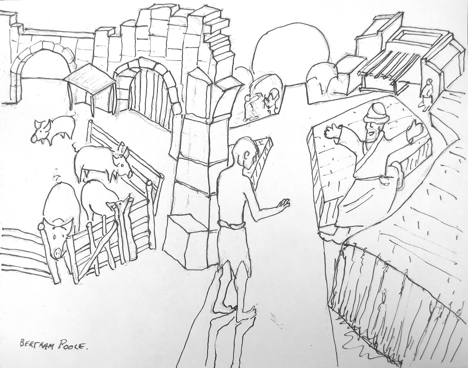 Christian Art Now Prodigal Son Parable Drawing Bertram Poole