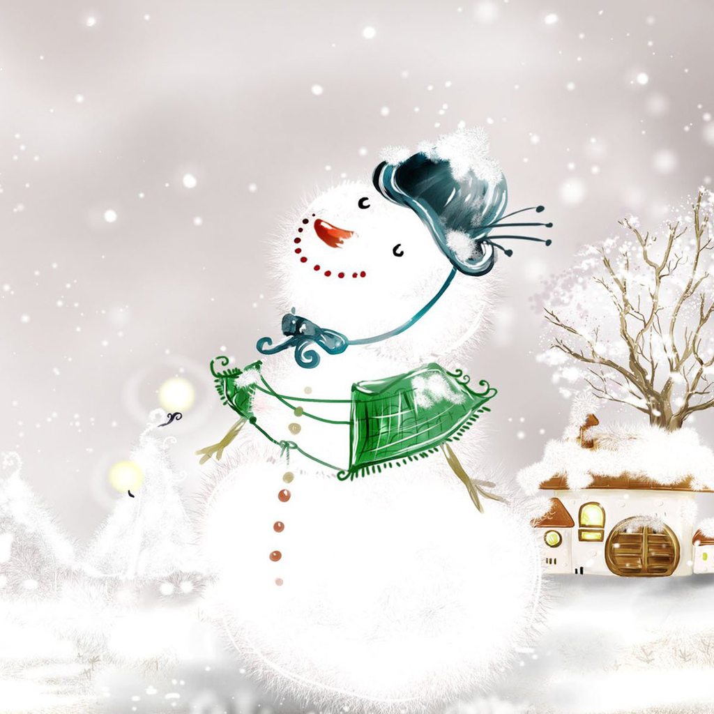 iPad Wallpapers: Free Download Christmas Snowman iPad mini ...