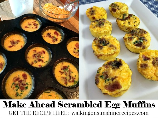 Scrambled Egg Breakfast Muffins with Bacon and Cheese from Walking on Sunshine
