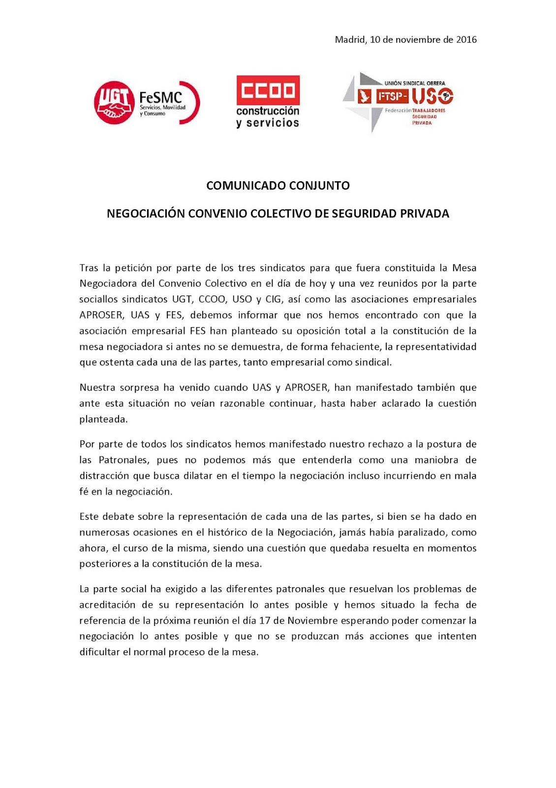 Casesaseccionsindicalccoo acta n 1 referente al convenio for Fuera de convenio 2017