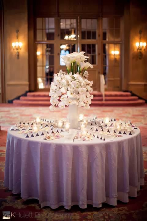escort card table, luxury wedding Fairmont Olympic Hotel, best Seattle wedding flowers