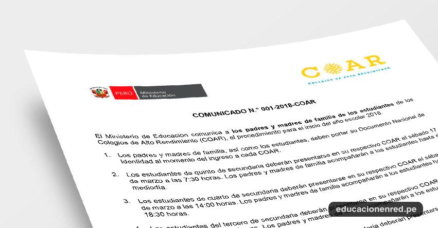 COAR 2018: Documentos a Presentar el Primer Día de Clases [INGRESANTES NIVEL NACIONAL] Colegios de Alto Rendimiento - www.minedu.gob.pe