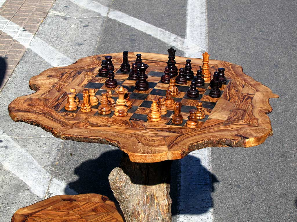 Olive wood chessboard, food fair, Livorno