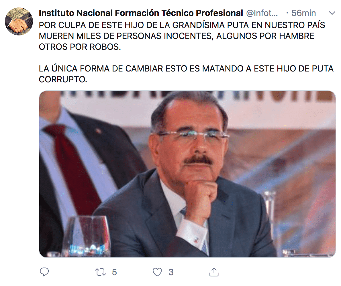 Hackean Twitter de Infotep y piden matar al presidente Danilo Medina