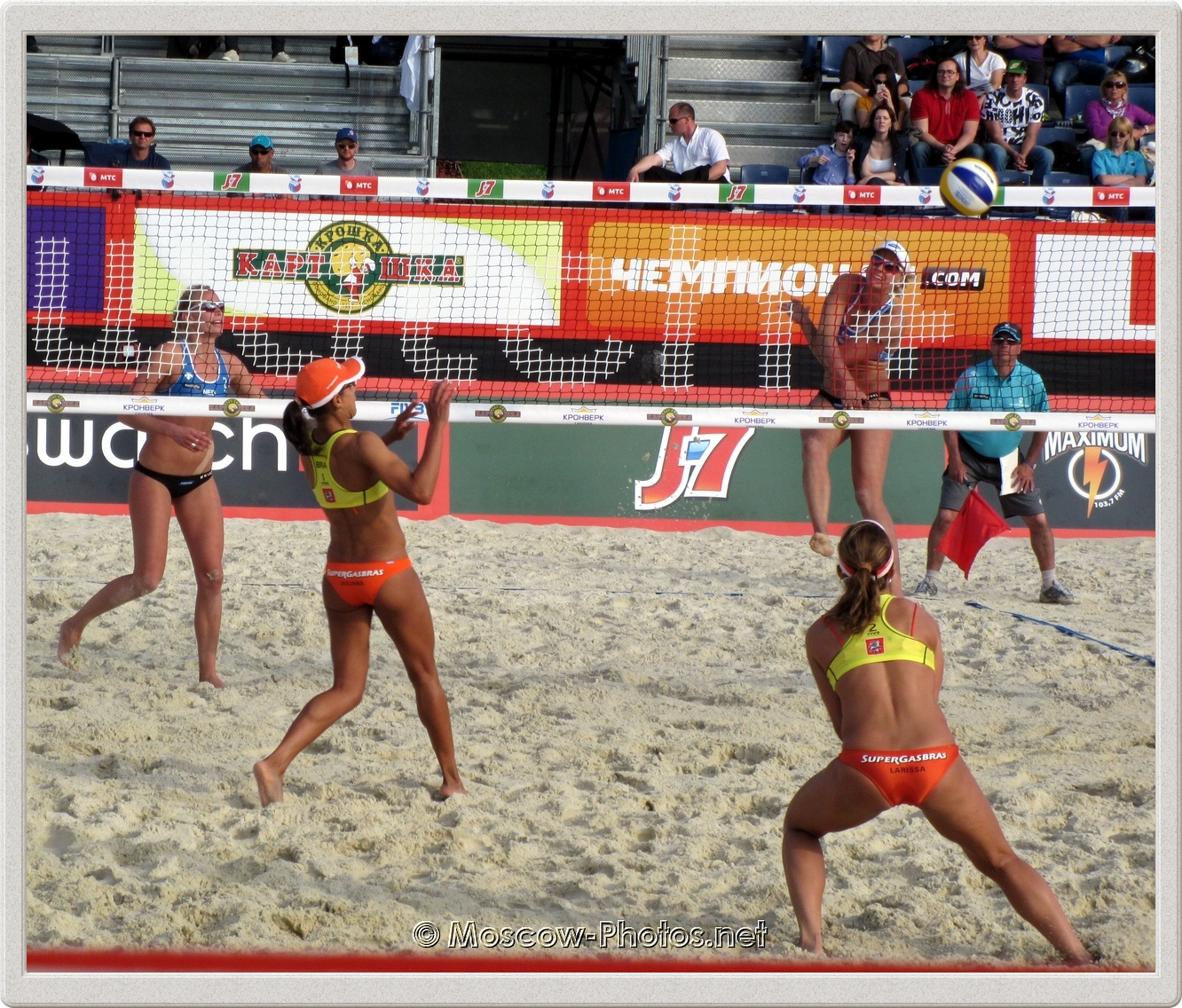 A powerful attack of dutch beach volley girl Marleen Van Iersel