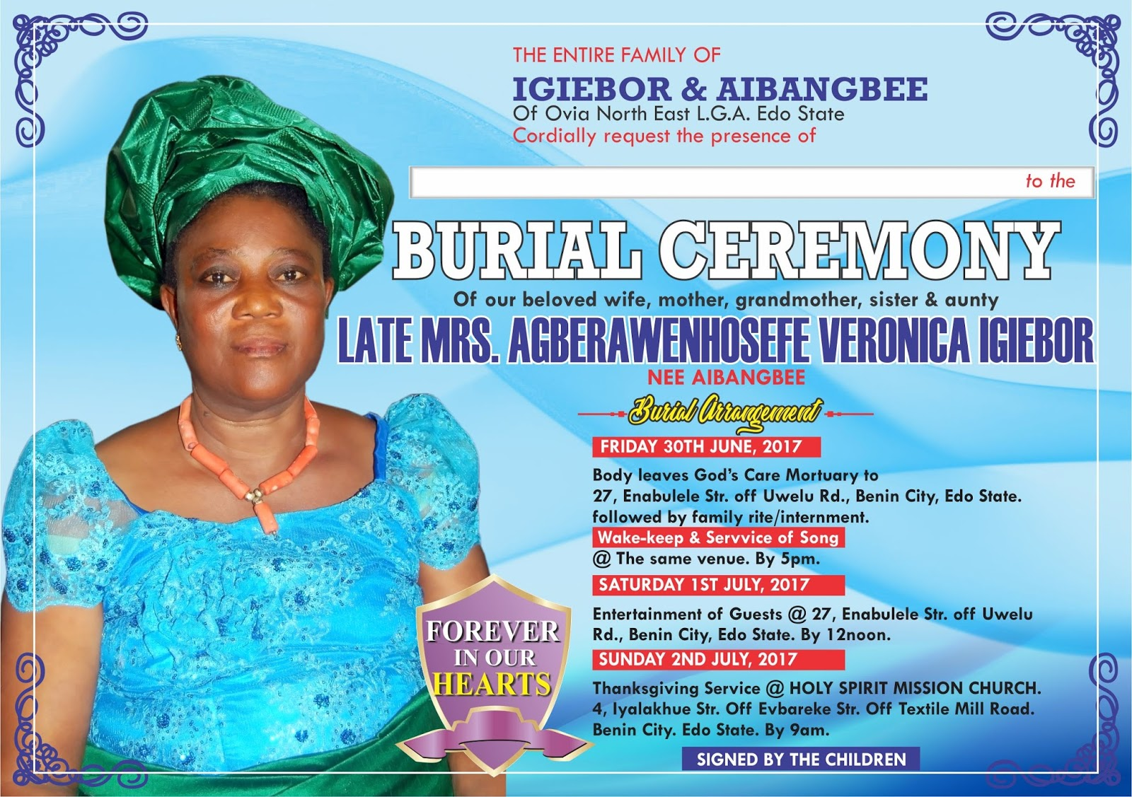 Madam Veronica Igiebor for burial July 1st in Benin Asabeafrika