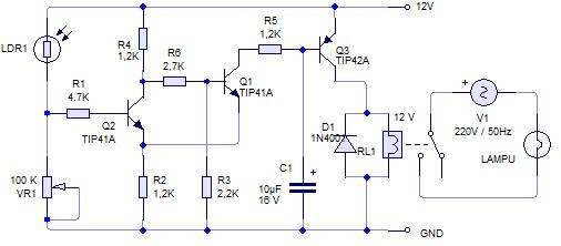 Membuat saklar lampu otomatis menggunakan sensor cahaya