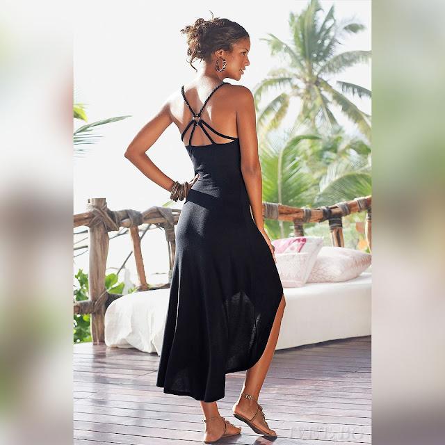 Ασύμμετρο μαύρο φόρεμα OLGA