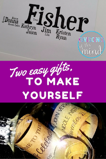 Christmas is a week away and if you are anything like me, you still have a few gifts that you have not gotten covered.  These two DIY gifts are quick and easy to make, but they always get wonderful reactions from the recipients because they are so special.