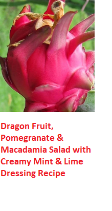 Dragon Fruit, Pomegranate & Macadamia Salad with Creamy Mint & Lime Dressing Recipe