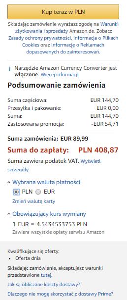 Podsumowanie zamówienia Kindle Paperwhite 4 przecenionego