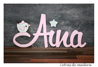 letras de madera infantiles para pared Aina con silueta de pajarito babydelicatessen