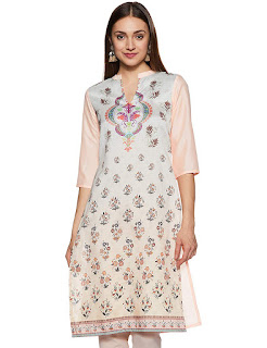 V Neck, Mandarin Collar, Straight Fit, Three Quarter Sleeve, Calf Length, Silk, Kurti-Kurta, Peach, Pink, Avah