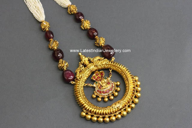 Pushkala Pearl Ruby Beads Necklace
