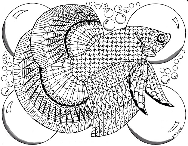 Beta Fish Zentangle Coloring Page Digital Coloring Pdf Doodle Art  Handmade Art Sheet Zentangle Abstract Digital Download Zia