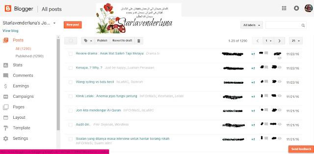 Dasboard blogspot bertukar..