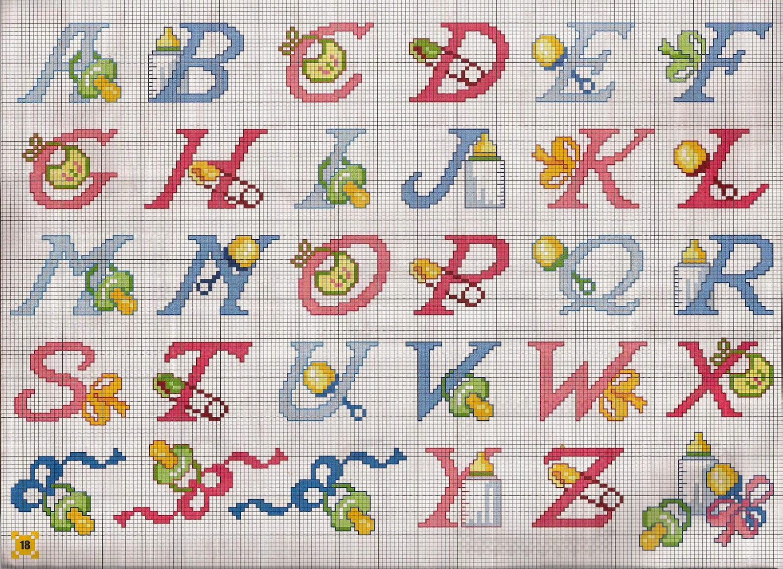 Hobby lavori femminili ricamo uncinetto maglia for Iniziali punto croce bambini