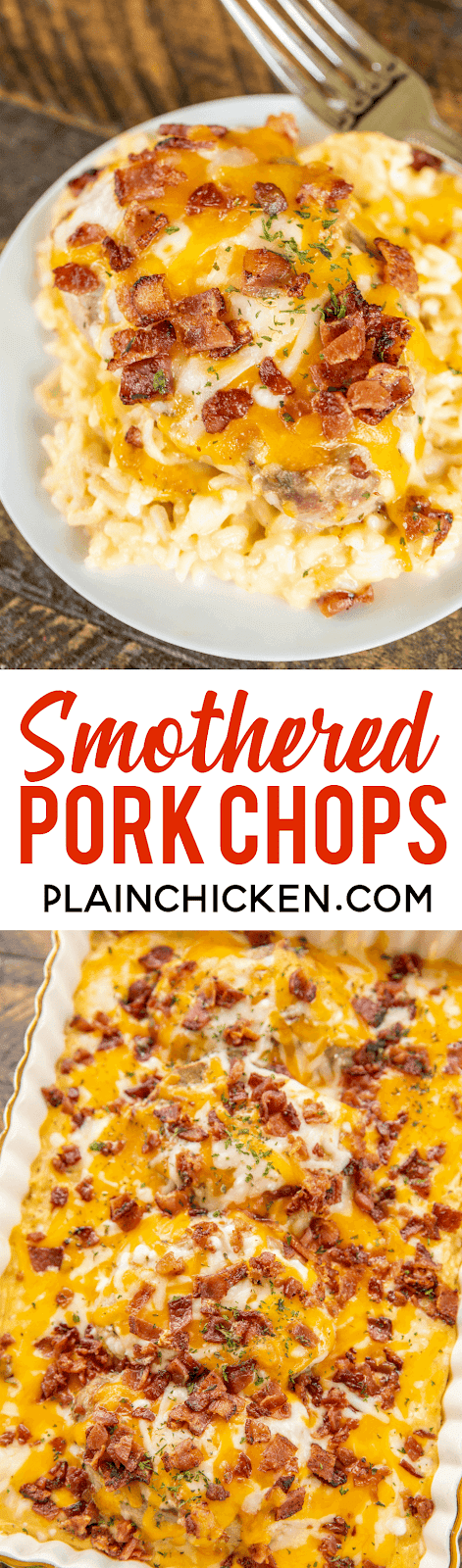 Smothered Pork Chops recipe - seriously delicious! Everyone cleaned their plate and asked for seconds! That never happens at our house!!! Pork Chops and rice baked in cream of chicken soup, milk, cheddar, mozzarella and bacon. Ready to bake in a snap and on the table in 30 minutes. We make this at least once a month!! SO GOOD!! #porkchops #casserole #dinner