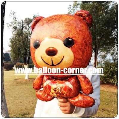 Balon Foil Karakter Teddy Bear Coklat / Teddy Bear Valentine