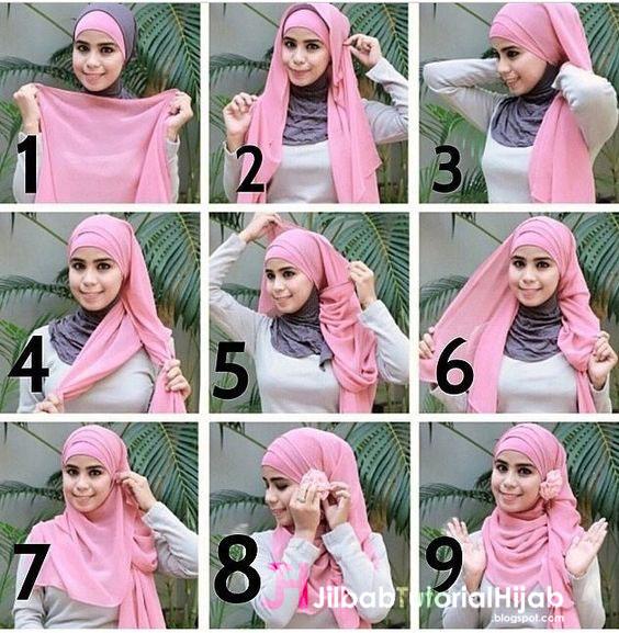Kumpulan Gambar Tutorial Cara Memakai Hijab lucu
