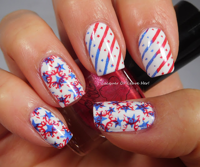 Moonflower Polish Flor de Maga,& Calles del Viejo San Juan + UberChic Beauty Fourth Of July + Sally Hansen Get Mod