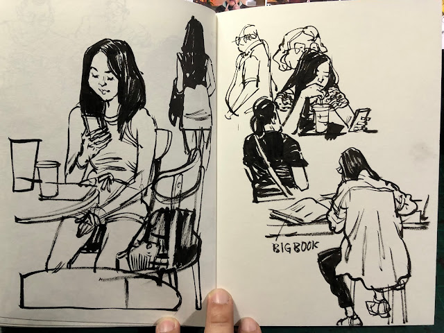 Sketching people at Starbucks cafe