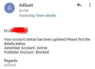 Adquet account blocked