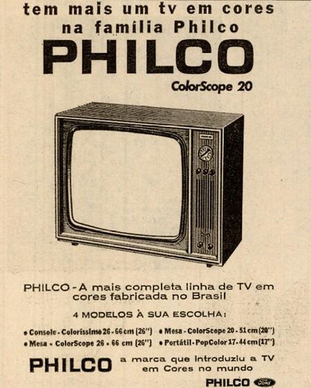 Propaganda antiga do modelo de TV em cores da Philco com sua nova linha para o começo dos anos 70