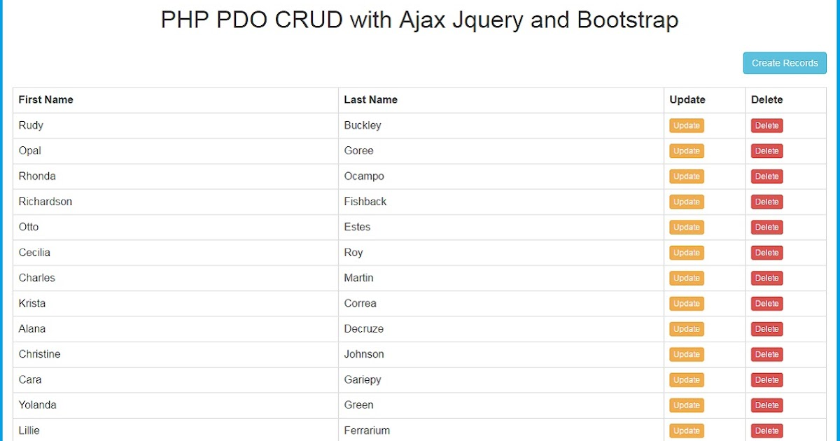 PHP PDO CRUD with Ajax Jquery and Bootstrap | Webslesson