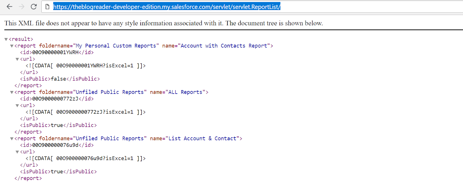 Salesforce Report List Using XML Format - TheBlogReaders
