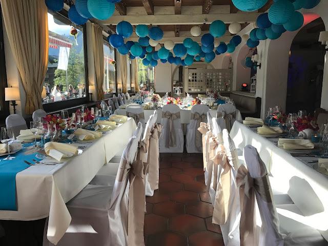 Hochzeitsdinner im Seehaus, exotisch heiraten, Malediven Karbiik-Hochzeit im Seehaus, Riessersee Hotel Garmisch-Partenkirchen Bayern, Hochzeitsplanerin Uschi Glas
