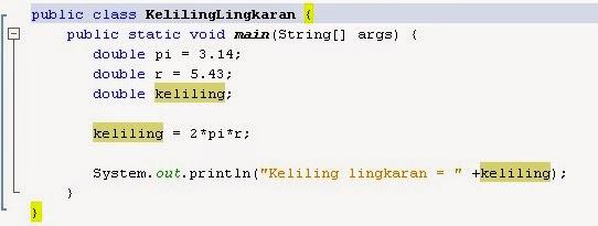 Program Double pada Java