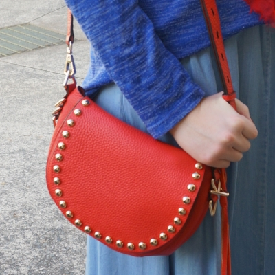 blue knit and chambray with red Rebecca Minkoff unlined saddle bag | Away From The Blue