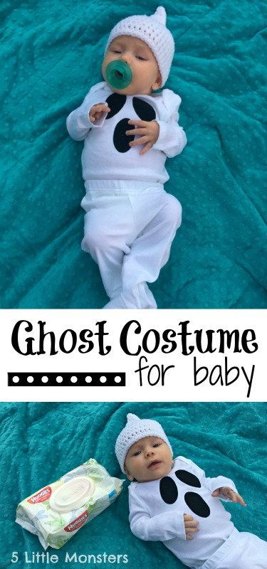 DIY ghost costume for baby's first halloween