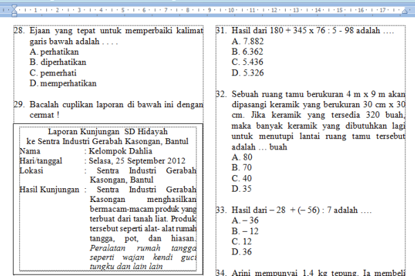 Kumpulan Bank Soal Soal Soal Latihan Un Kelas 6 Sd Kumpulan Latihan Soal Tes Seleksi Masuk Smp Mts