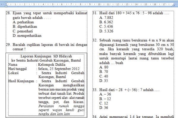 Kumpulan Latihan Soal Tes Seleksi Masuk Smp Mts Informasi Pendidikan