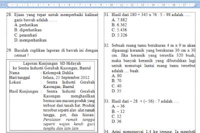 Download soal latihan tes seleksi masuk SMP/MTs muatan Bahasa Indonesia, Matematika, dan IPA.