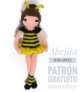 PATRON GRATIS MUÑECA ABEJA AMIGURUMI 38929