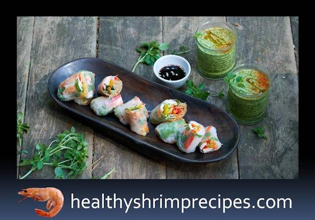 Healthy shrimps Rolls with vegetables Recipes